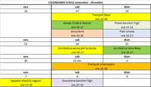 calendario stage di novembre 12