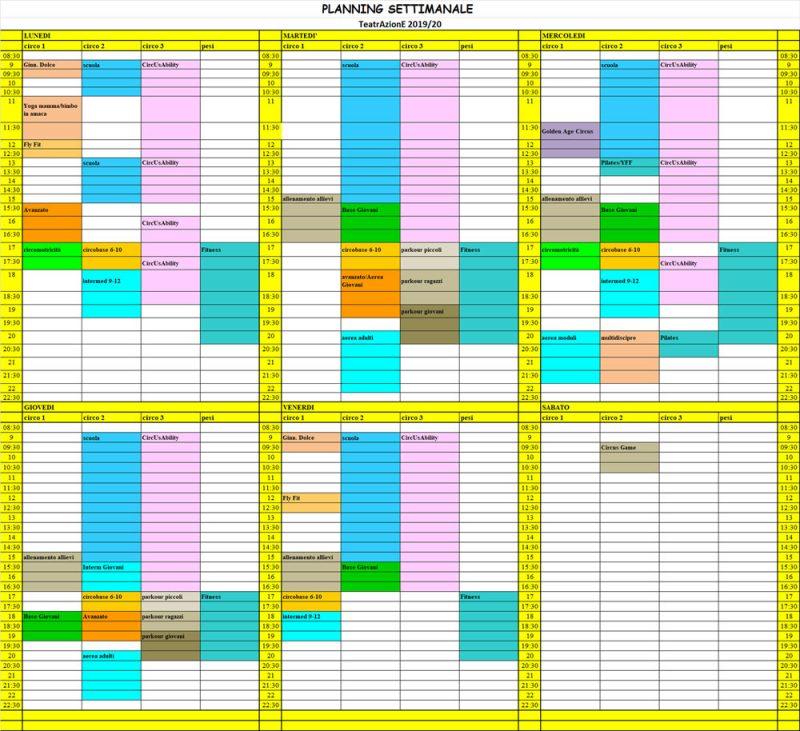 Planning settimanale 19-20
